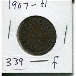1907 H CNDN LARGE 1 CENT PC