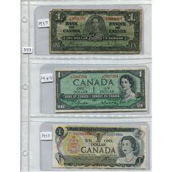 SHEET OF CNDN 1 DOLLAR BANK NOTES (1937,54, 73)