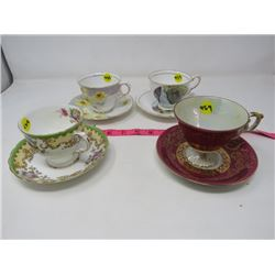 LOT OF 4 TEACUPS & SAUCERS (2 ROYAL STAFFORD, 1 MADE IN JAPAN, 1 TUSCAN)