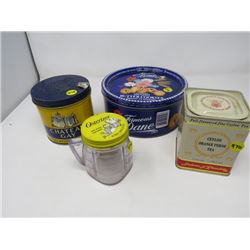 LOT OF 4 TINS (CHATEAU GAY TOBACCO, CEYLON TEA, DANE COOKIE, OSTERIZER JAR)