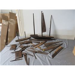 SHIP BUILDER HOBBY PROJECT *VERY OLD* (WOODEN WALNUT SAIL BOAT) *MANY PIECES*