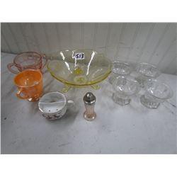 GLASS WARE (9 PCS), *4 SHERBERTS, PINK SHAKER, YELLOW BOWL, ETC*