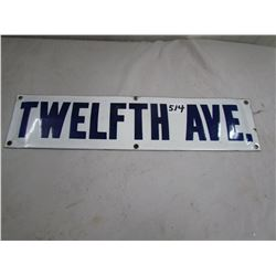 """PORCELAIN SIGN (12TH AVE) *19"""" X 4.5""""*"""