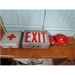LOT OF 3 (FIRE BELL, PULL EXIT SIGN, SAFETY KIT BOX)
