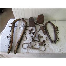 LOT OF HORSE RELATED ITEMS (HEIGNES, BITS, BUGGY STEPS, ETC)