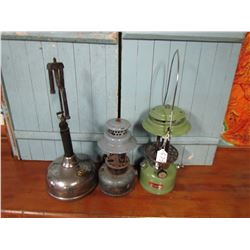 LOT OF 3 GAS LAMPS (AIC, JC HIGGINS, COLEMAN)