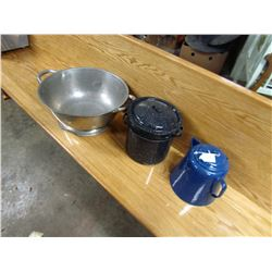 LOT OF 3 KITCHEN PCS (DOUGH PAN, KETTLE, DOUBLE BOILERS)