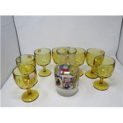 7 AMBER DRINK GLASSES (BARTLETT-COLLINS) & WARNER BROTHERS CARTOON CARAFE