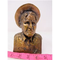 BANK BUST (CHARLES M. RUSSEL) *1962* (METAL W/BRONZE COLOR)
