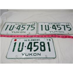 LOT OF 3 LICENSE PLATES (YUKON)