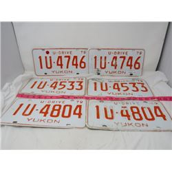 LOT OF 3 SETS LICENSE PLATES (YUKON UDRIVE)
