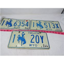 LOT OF 3 LICENSE PLATES (WYOMING)