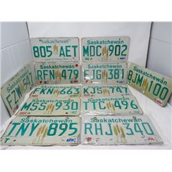 LOT OF 12 LICENSE PLATES (SASKATCHEWAN)