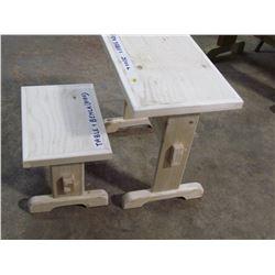"CHILD'S TABLE & BENCH (20"" X 14"" X 19"" TALL)  *HANDMADE BY GORDON BRAATEN*"