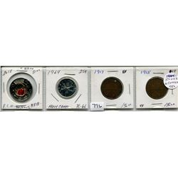 SET OF 4 CNDN COINS (2018 ARMSTICE $2 PC, 1964 25 CENT PC, 1914 LARGE PENNY, 1915 LARGE PENNY)