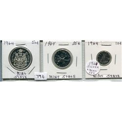 1964 SET OF 3 CNDN COINS (50 CENT, 25 CENT & 10 CENT PCS) *SILVER*