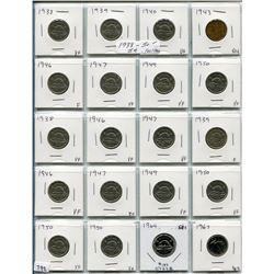 SHEET OF 20 CNDN 5 CENT PCS (1938 TO 1967)