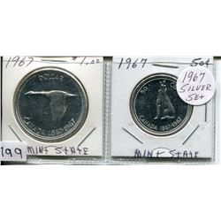 1967 SET OF CNDN COINS (DOLLAR & 50 CENT PC) *SILVER*