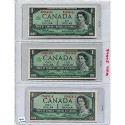 SET OF 3 CNDN BANK NOTES (2 - 1967 & 1 - 1954)