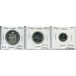 1966 SET OF 3 CNDN COINS (50C CENT, 25 CENT, 10 CENT PCS) *SILVER*