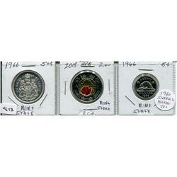 SET OF 3 CNDN COINS (1966 50 CENT PC & 5 CENT PC, 2018 ARMISTICE 2 DOLLAR PC)