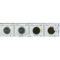 SET OF 4 CNDN COINS 1966 & 1963 QUARTER, 1916 & 1920 LARGE PENNIES)