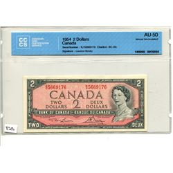 1954 CNDN BANK NOTE (2 DOLLARS) *CCCS AU-50*