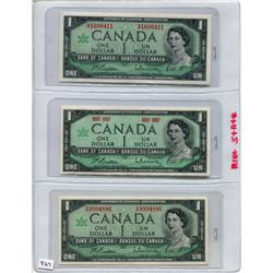 1967 SET OF 3 CNDN BANK NOTES (ONE DOLLAR)