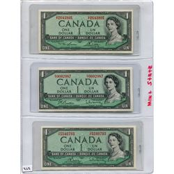 1954 SET OF 3 CNDN BANK NOTES (ONE DOLLAR)