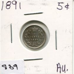 1891 CNDN SMALL 5 CENT PC (SILVER)