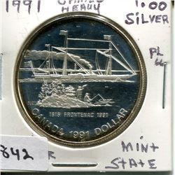 1991 CNDN SILVER DOLLAR (CAMEO HEAVY)
