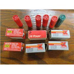 LOT OF (22 CALIBER) LONG SHELLS, 5 BOXES FULL 1 PARTIAL & 6 (12 GAUGE) SHOT GUN SHELLS