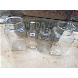 LOT OF 4 GLASS JARS (2 CANDY, 2 ETC)