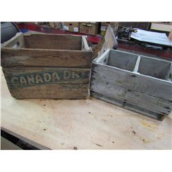 LOT OF 2 WOODEN POP CRATES (7-UP & CANADA DRY)