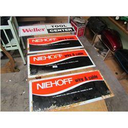 "LOT OF 4 SIGNS (3 - NIEHOFF - 20"" X 8.5""; 1 WELLER - WOODEN)"