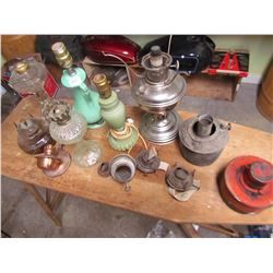 LOT OF LAMPS & PARTS (COAL OIL & ELECTRIC)