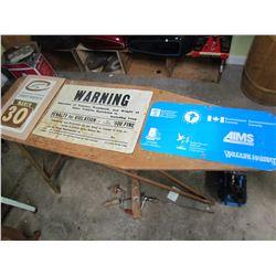 CALENDAR & 2 SIGNS (1 - WARNING, PAPER; 1 - AIMS, METAL)