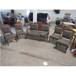 ANTIQUE SETEEE, 4 CHAIRS & SEAT COVERS (EASTLAKE) *LATE 1800s* (TOTAL REFINISH)