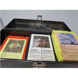 LOT OF ASSORTED 8 TRACK TAPES IN METAL BOX (RUNAWAYS, MACGREGOR, ETC…)