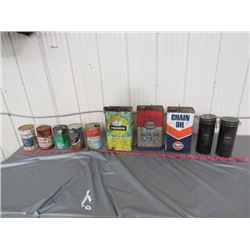 8 ASSORTED CANS (ESSO, PIONEER, ETC)