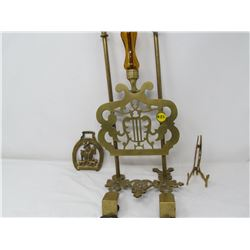 MUSIC STAND, PLATE STAND & BELT BUCKLE (ALL BRASS)