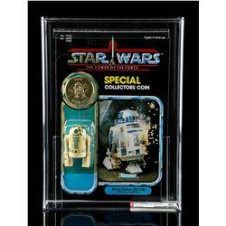 Lot # 290: R2-D2 With Pop-Up Lightsaber POTF AFA 85Y