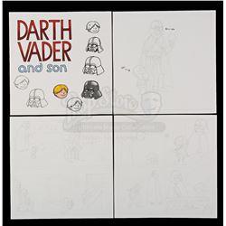 Lot # 704: Hand-Drawn Darth Vader and Son Sketches