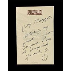Lot # 709: Hand-Written Frank Oz Lucasfilm Memo