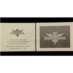 Lot # 728: 2 Dragonslayer Cast and Crew Party Invitations