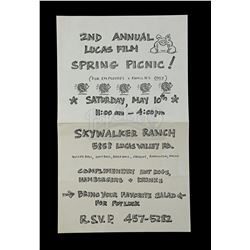 Lot # 730: 2nd Annual Lucasfilm Spring Picnic Flyer