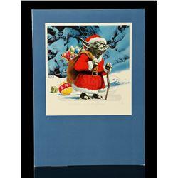 Lot # 734: Lucasfilm Christmas Card With Yoda As Santa Cl