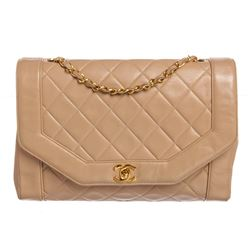 Chanel Beige Lambskin Leather Quilted Large Flap Bag