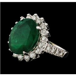 6.78 ctw Emerald and Diamond Ring - 14KT White Gold