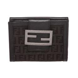 Fendi Black Zucca Canvas Leather Trim Small Wallet